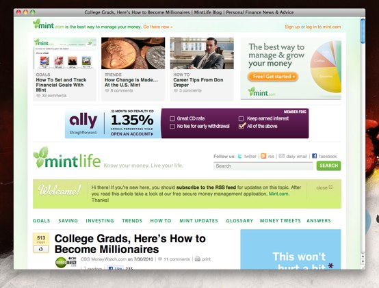 Screenshot of Mint blog post