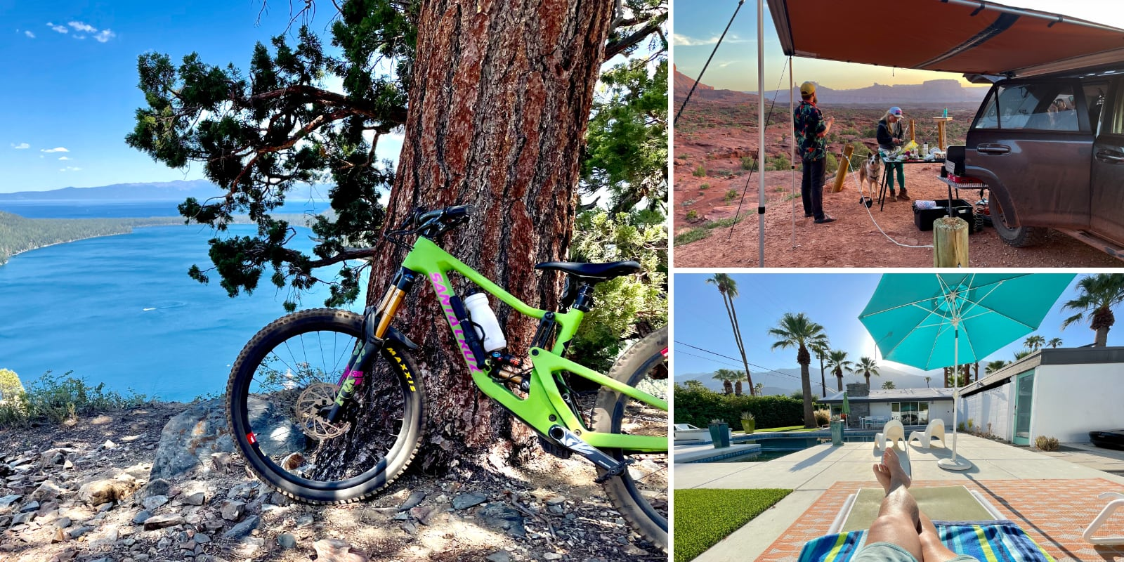 Mountain bike on Lily Lake, camping with the 4runner, and relaxing in Palm Springs